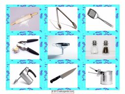 Kitchen Cookware & Utensil Cards 4 Pages = 36 Cards