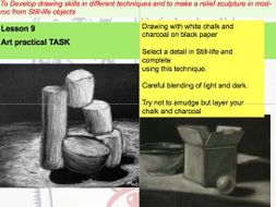 KS3 Still-life Drawing- mixed media Composition project leading to mod-roc detail Lesson 7