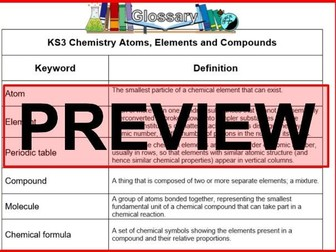 KS3 Science Glossary Chemistry Atoms, Elements and Compounds (Blank & Completed)