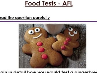 KS3 Food Test 6 mark exam question