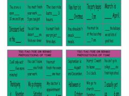Prepositions of Time Tic-Tac-Toe or Bingo