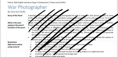 AQA GCSE POWER and CONFLICT ALL POEM NOTES ANNOTATED