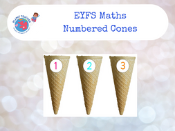 Numbered Ice Cream Cones 0-9, EYFS Maths