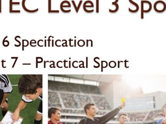 BTEC Level 3 Sport (2016) New Specification Unit 7 Learning Aim D