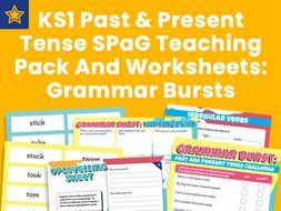 KS1 Past and Present Tense SPaG Teaching Pack And Worksheets: Grammar Bursts