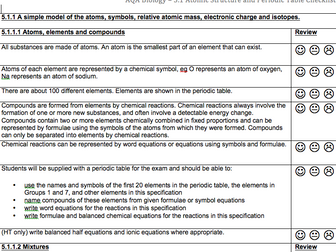 AQA Combined Science Trilogy Chemistry Checklists