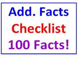Addition Facts CHECKLIST (100 Facts!) (5 Worksheets)