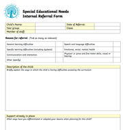 Special Educational Needs Internal Referral Form
