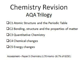 Revision booklet for AQA Trilogy Chemistry