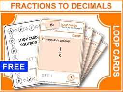 Fractions To Decimals (Loop Cards)
