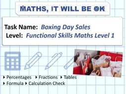 FS Maths Level 1 Money Boxing Day Sales Exam Style