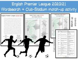 English Premier League Football / Soccer Wordsearch + Match-up activity
