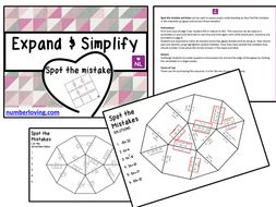 Expand and Simplify (Spot the Mistake Worksheet)