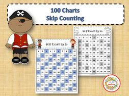 100 Number Charts with Skip Counting - Pirates
