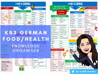 KS3 German Food/Drink/Health Topic Knowledge Organiser