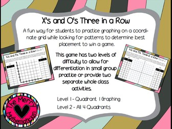 "Coordinate Graphing Game ""X's and O's"""
