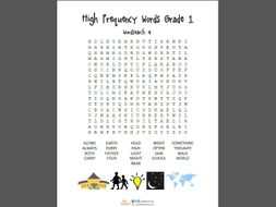 Wordsearch x 8 of High frequency words for Grade 1 and 2 - Over 200 words