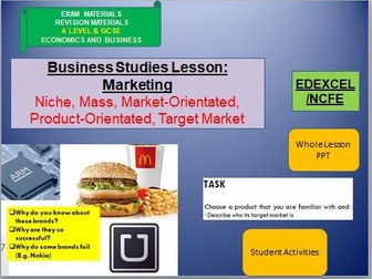 Aspects of Marketing Lesson and Activities: GCSE Business, VCert in Business and Enterprise