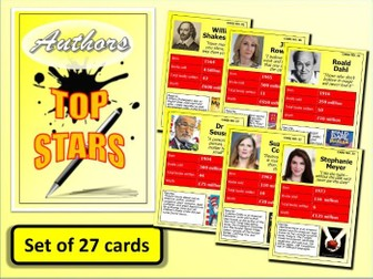 Famous AUTHORS Top Stars Card Game set of 27 English Language Literature End of Term Activity