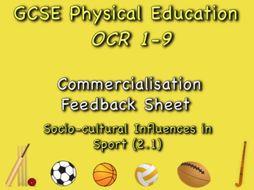 GCSE OCR PE (2.1) Socio-Cultural Influences  - Commercialisation Feedback Sheet