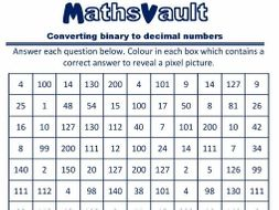converting from binary to decimal numbers pixel puzzle worksheet by jtodd854 teaching. Black Bedroom Furniture Sets. Home Design Ideas