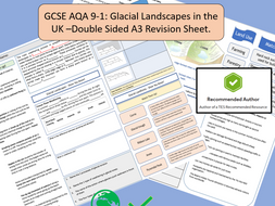 AQA GCSE 9-1 : Glacial Landscapes in the UK, A3 Double Sided Revision Sheet. Glaciation