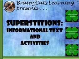 Superstition:  Informational Text, Writing Prompt, and Word Activities