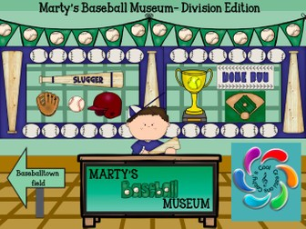 Marty's Baseball Museum- Division Edition- Interactive Math Game