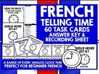 FRENCH TELLING TIME CHALLENGE CARDS #7