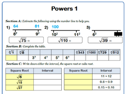 Estimating Square and Square Roots 9-1 GCSE Maths Worksheet with ...