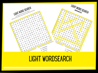 Light wordsearch | KS2