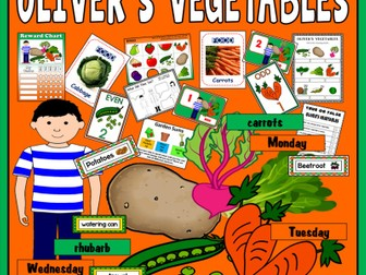 OLIVER'S VEGETABLES  STORY RESOURCES EYFS KS1 ENGLISH LITERACY FOOD HEALTHY EATING EARLY YEARS