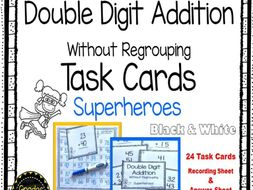 Double Digit Addition Task Cards Math Center