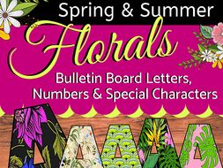 Floral Bulletin Board Letters, Numbers & Special Characters, 10 Designs