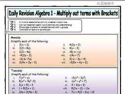 Maths daily revision worksheets algebra 1 multiplying out terms maths daily revision worksheets algebra 1 multiplying out terms with brackets ibookread PDF