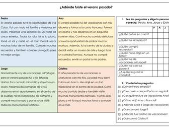 Spanish KS3 GCSE las vacaciones: Holidays reading comprehension with past tense