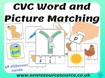 CVC word and picture matching jigsaws