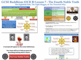 GCSE - Buddhism -Lesson 7 (OCR B) [Fourth Noble Truth, The Noble Eightfold Path, Maggas](J625/04)