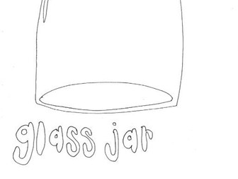 Glass Jar :Recycling and Materials Colouring Page