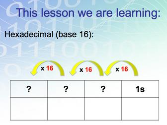 GCSE Computer Science: Data lesson 2 (Hexadecimal)