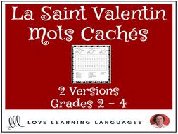 Primary French - Valentine's Day Word Search - Mots Cachés - La Saint Valentin