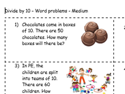 Dividing by 10 - Year 2 word problems