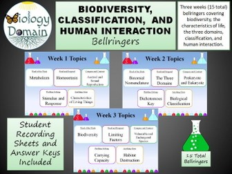 Three weeks of Biodiversity Bellringers Warm Ups with Answer Key