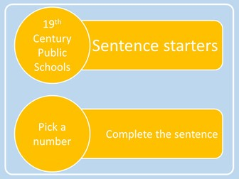 A Level PE (2016): Sentence Starters - 19th Century Public Schools