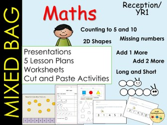 Mixed Bag Maths Count Ordering 2D Shapes & Measures (5 Lessons), Presentations Worksheets  EYFS/KS1