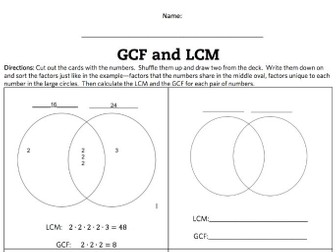 LCM and GCF Venn Diagram Activity and Game