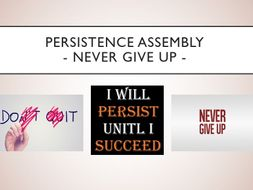 Persistence Assembly with follow up worksheet - Never Give Up!
