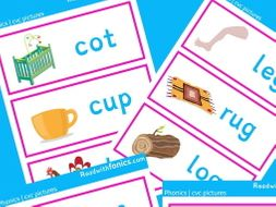 CVC picture and word flashcards | Letters and Sounds Phase 2