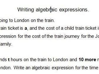 Writing Algebraic Expressions Word