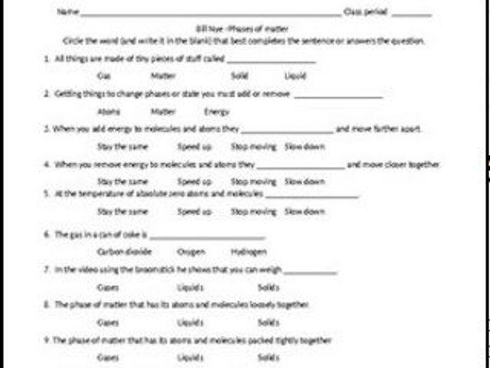 bill nye phases of matter worksheet Termolak – Bill Nye Phases of Matter Worksheet